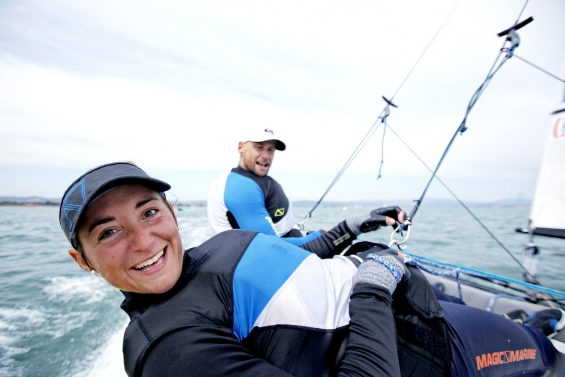 Fe?de?ration Franc?aise de Voile, France, Hye?res, ISAF, ISAF Sailing World Cup, International Sailing Federation, Mediterranean, Mediterranean Sea, Nacra17, Olympic, Olympic class, Olympic sailing, Provence-Alpes-Co?te d'Azur, Sailing World Cup, Var, action, adrenalin, athletic, athlets, breeze, colour, crew, design, dinghy, female, fiberglass, fleet, fun, horizontal, liquid, mast, ocean, one design, outdoor, performance, physical, propulsion, regatta, sail, sailing, sea, sport, sunny, tactic, team, team work, training, trapeze, trim water, water, weather, wind, yacht, yachting