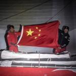 VOR, Volvo Ocean Race, 2014-15, Newport, arrivals, Dongfeng Race Team, flag, celebration, chinese
