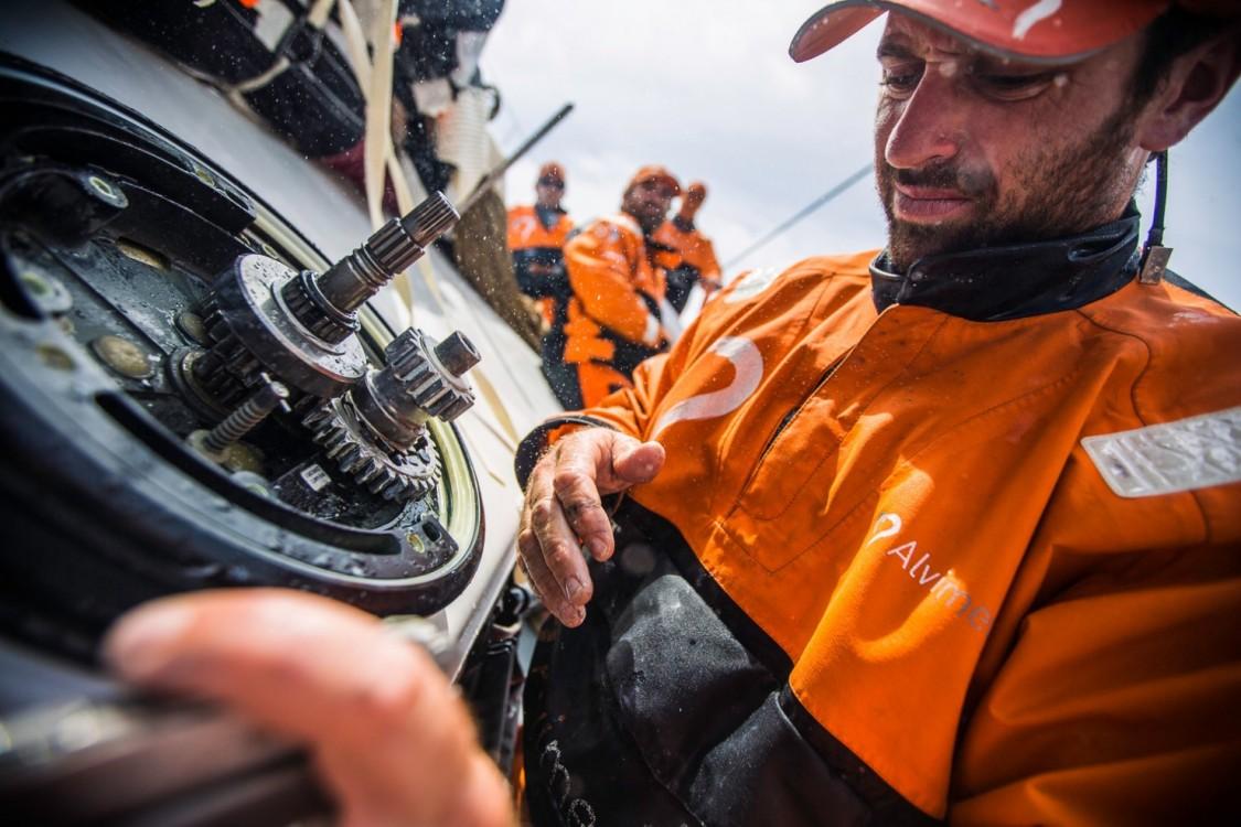2014-15, Leg6, OBR, ONBOARD, TEAM ALVIMEDICA, VOR, Volvo Ocean Race, Seb Marsset, winch, repair, fix