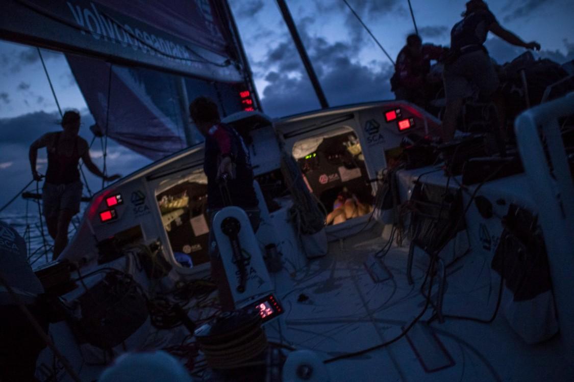 2014-15, ACTION, LEGS, Leg 6, OBR, Team SCA, VOR, Volvo Ocean Race, onboard, night, lights, sillhouette, stern