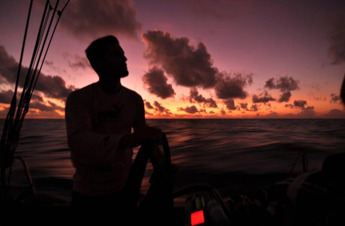 Volvo Ocean Race, 2008-2009, PUMA Ocean Racing, Leg 2, il mostro, Sunset, Helming, Helm, Sidney Gavignet, Racing Crew, Onboard, Doldrums