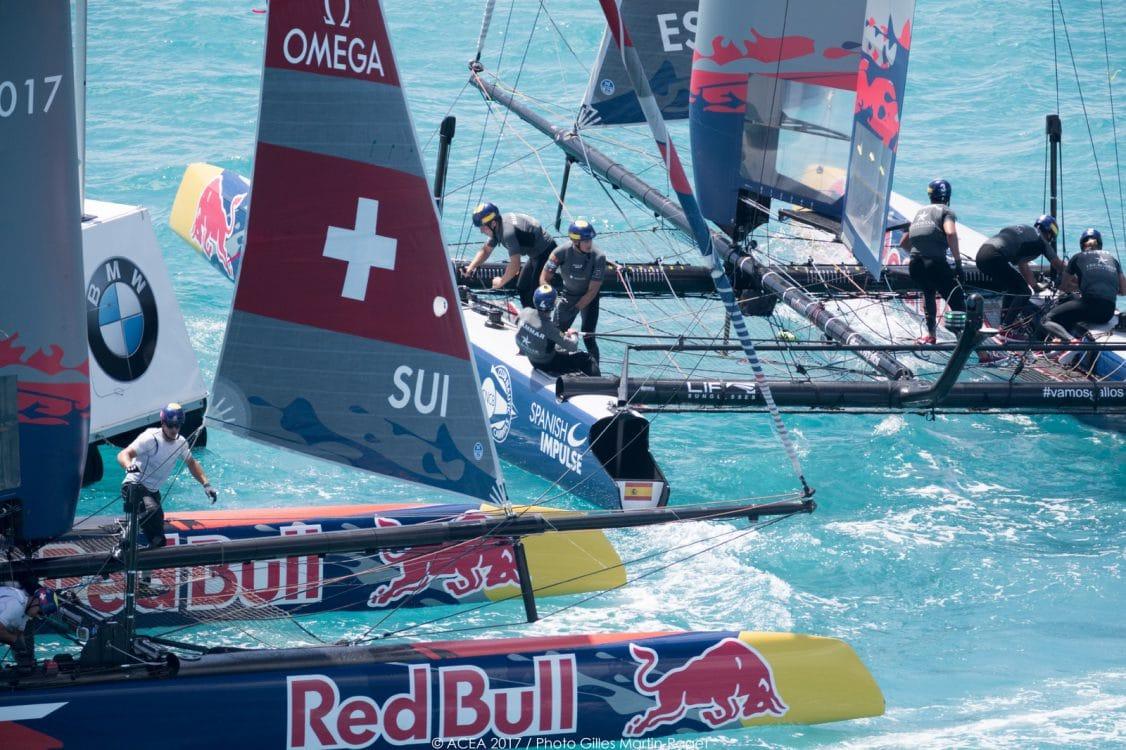 2017, 35th America's Cup Bermuda 2017, AC35, Sailing, Bermuda, Aeriall, RD2, Day2, Team Tilt, Switzerland, Spanish Impulse by Iberostar, Spain