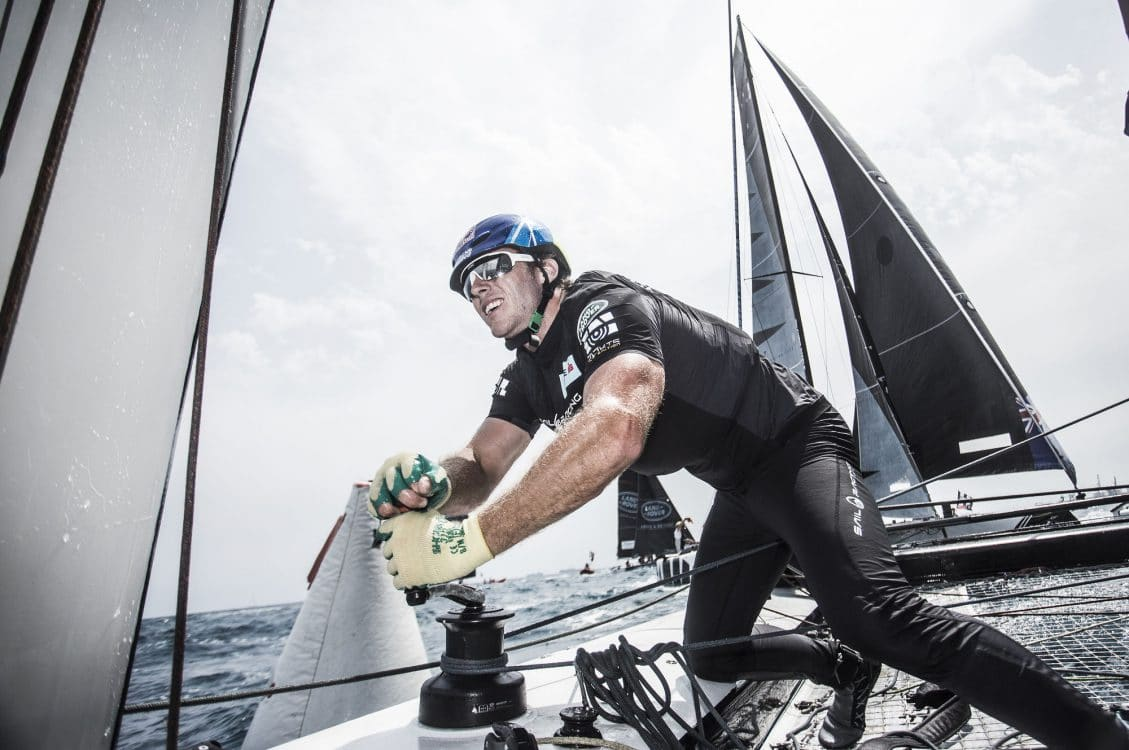 ESS, The Extreme Sailing Series 2017, Mutihull, GC32, Foiling Yacht, Sailing, Foiling, Barcelona, Spain, Yacht Racing, Day1, Red Bull Sailing Team, Roman Hagara, Hans Peter Steinacher, Stewart Dodson, Adam Piggott, Will Tiller