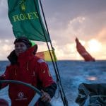 2017-18, Charles Caudrelier, Dongfeng, Emotion, Happiness, Happy, Smiling, Smile, Kind of picture, Leg Zero, Nature, On board, On-board, Pre-race, Rolex Fastnet Race, Skipper, Sunrise, french, helm, wheel