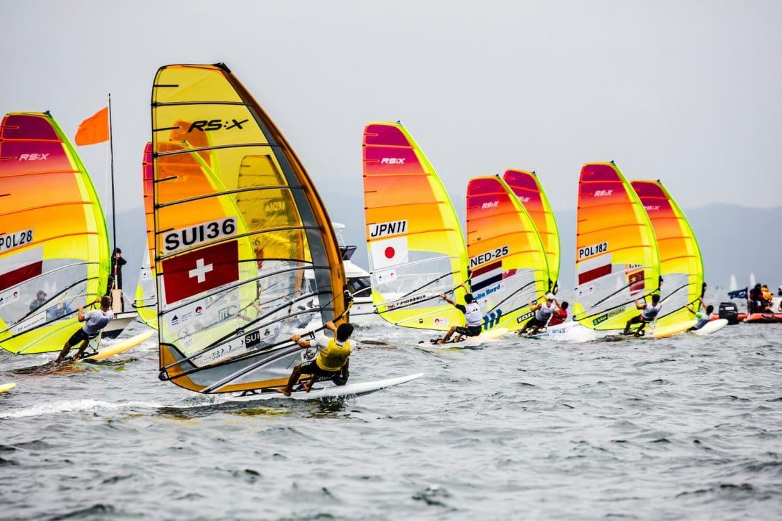 2018 World Cup Series, GAMAGORI, JPN 111Jun Ogawa (M)JPNJO3, Japan, Olympic Sailing, POL 182Pawel Tarnowski (M)POLPT4, RSXM, SUI 36Mateo Sanz Lanz (M)SUIMS27, Sailing Energy, WC Series Gamagori, World Sailing