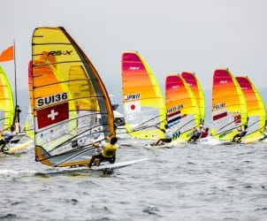2018 World Cup Series, GAMAGORI, JPN 111Jun Ogawa (M)JPNJO3, Japan, Olympic Sailing, POL 182Pawel Tarnowski (M)POLPT4, RSXM, SUI 36Mateo Sanz Lanz (M)SUIMS27, Sailing Energy, WC Series Gamagori, World Sailing