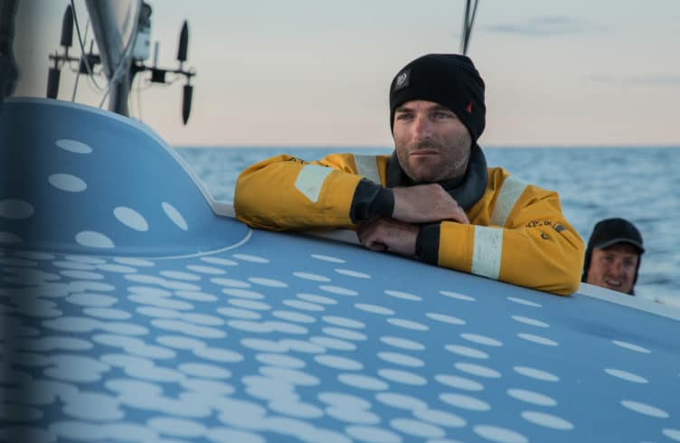 Leg 11, from Gothenburg to The Hague, day 02 on board Turn the Tide on Plastic. Nico Lunven looking for wind. 23 June, 2018.